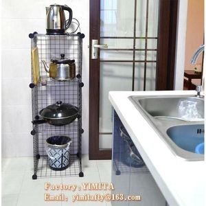 kitchen organizer/ diy storage shelf metal cube storage/ foldable wire storage cube