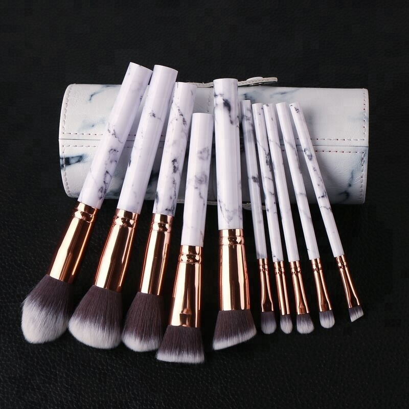Hot Popular Marble Makeup <strong>Brushes</strong> 10PCS Beauty <strong>Brushes</strong> Makeup Cosmetics Kit With Tube