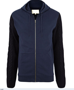 Men's Navy Cable Knit Sleeve Hoodie