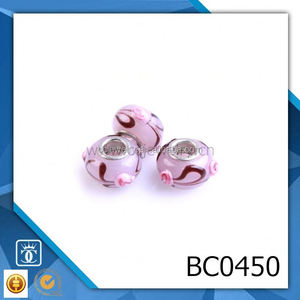 2016 promotional gift items murano glass beads with flower inside BC0450