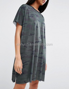 Customized Women Camo Pattern Loose Boy Friend Style Oversize T-Shirt Dress