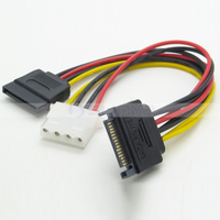 15Pin SATA Male to 4Pin IDE Female + SATA Female Power Cable