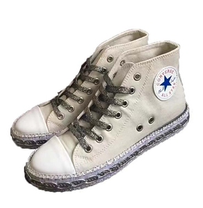 Sequins high-top flat casual lace canvas shoes tide students wild sports shoes