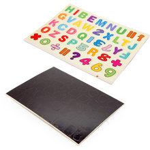 Деревянные двухсторонние обучающие игрушки для детей 2 в 1, для сортировки, склейки, укладки, рисования и письма, магнитная головоломка(Китай)
