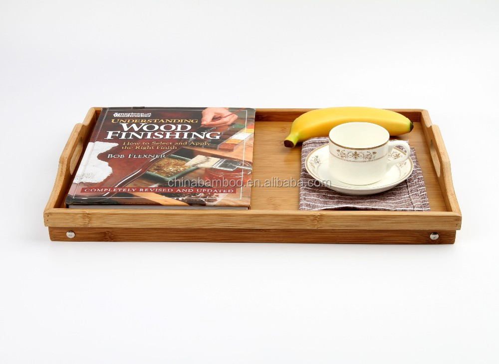 Large Cheap Bamboo Tray, Bamboo Serving Tray, Adjustable