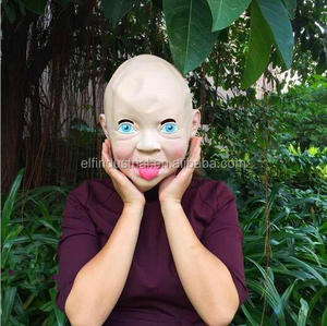 Halloween Latex Disgusted Happy Smiling Baby Costume Mask Halloween Creepy Full Head Latex Party Masks