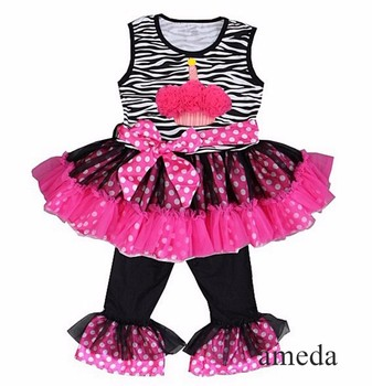 Rosettes Cupcake Zebra Hot Pink Polka Dots Ruffled Top with Pants and Sash Outfit