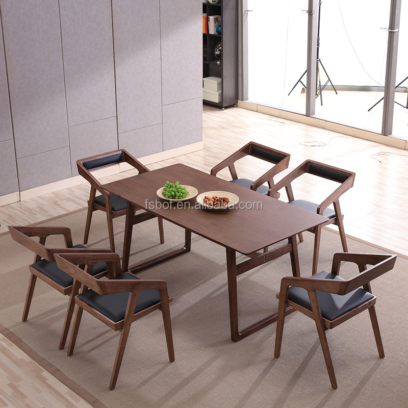 New Design High End Hotel Office Wood Chair Luxury Italian Leather Dining Tables And Chairs Furniture E4017