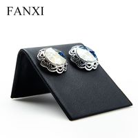 FANXI China Factory Classic Black Leather Earrings/Ear Stud Display Holder L Shape Jewelry Display Stand