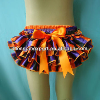 Wholesales purple orange black stripe Satin ruffle bloomers for babies with bow knot