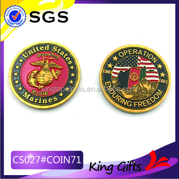 promotional souvenir coin brass stamping cheap military coin high quality metal souvenir coin