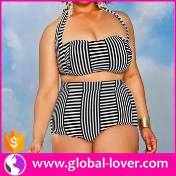 wholesale mature fat women plus size tied bikini high waisted