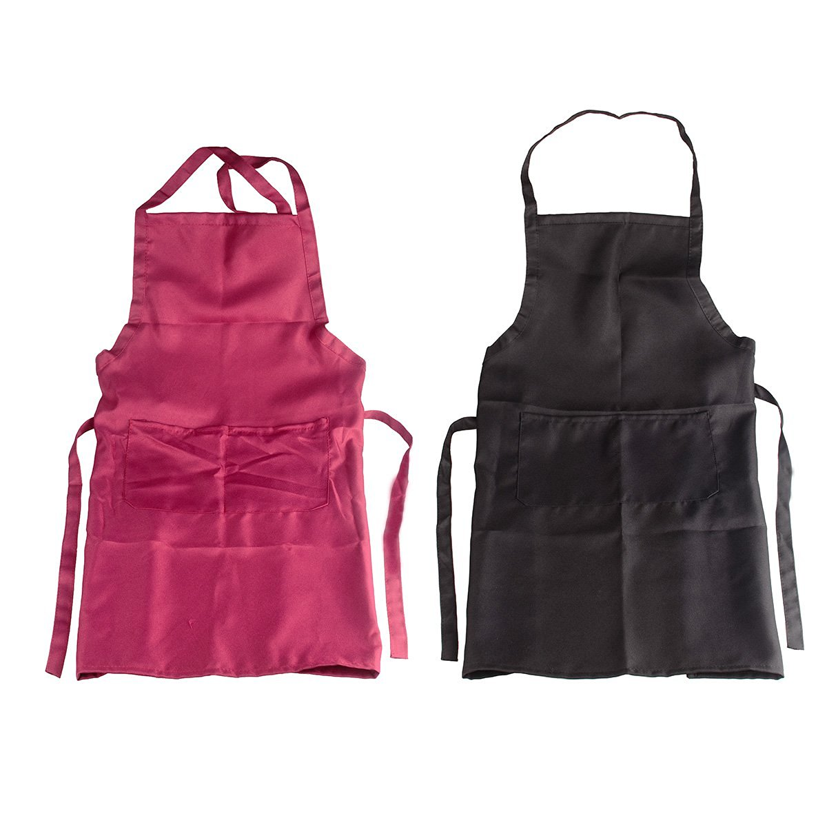 Flammi 2-Pack Professional Bib Apron for Bistro Garden Craftsmen Pure Color Work Aprons (28 x 22.8 inches ) (Black + Burgundy)