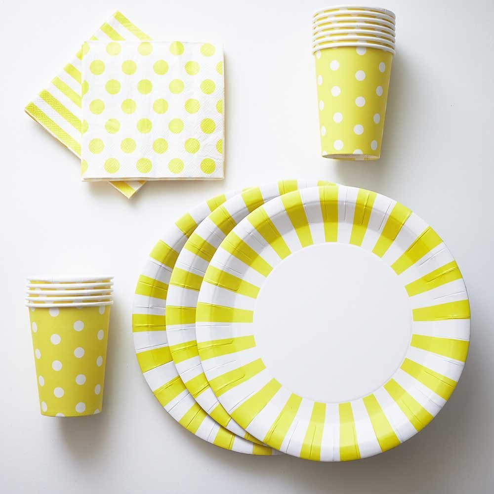 Light Yellow Paper Plates Cups Napkins - Striped / Polka Dot 12 Paper Plates 12  sc 1 st  Alibaba & Buy Light Yellow Paper Plates Cups Napkins - Striped / Polka Dot 12 ...