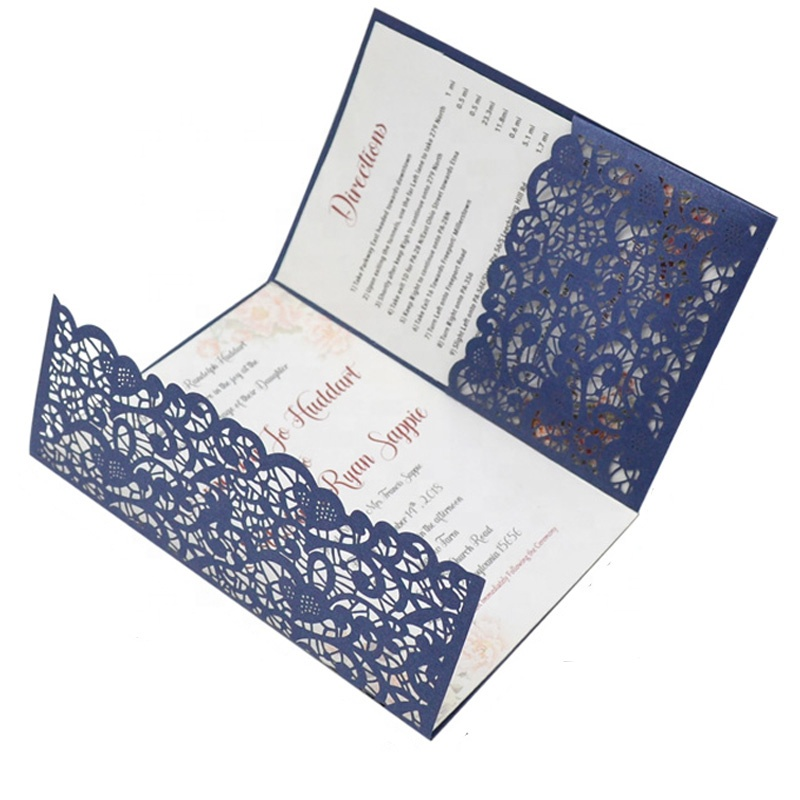 navy blue <strong>wedding</strong> card invitation with pocket envelopes lace card <strong>wedding</strong> laser cut trifold card invitation <strong>wedding</strong>