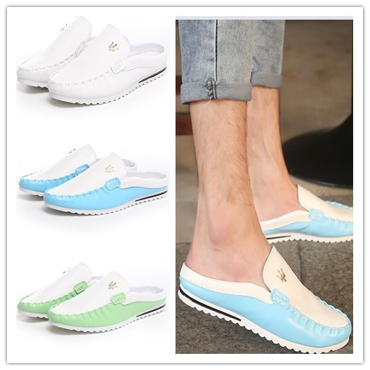 Summer Fashion Mens Breathable Leather Metal Slip On Flats Shoes Comfortable Slipper Sneakers Casual Slipper Espadrilles For Men