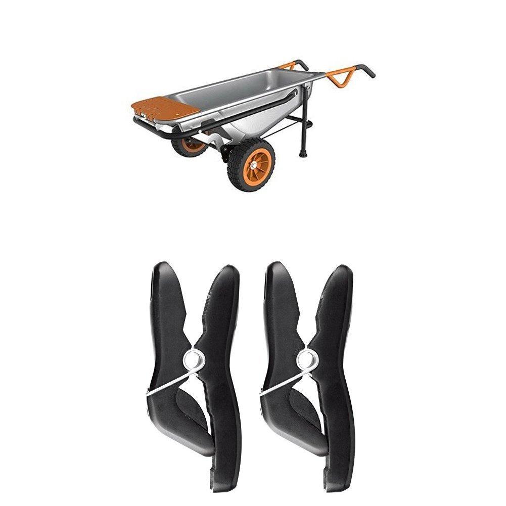 Worx WG050 Aerocart Multifunction Wheelbarrow, Dolly and Cart with WA0235 Stick/Tool Holders