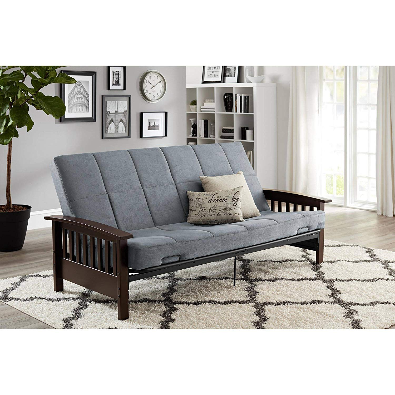 Gray Wood Arm Futon, Convertible to Full Size Sleeper, Solid Wood Arms, Padding, Reclinable Metal Mesh Frame, Retainer Clips, Bundle with Our Expert Guide with Tips for Home Arrangement