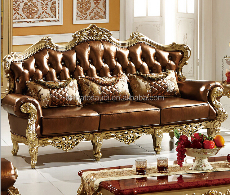 Luxury European Baroque Style Luxury living room sofa set/french royal palace wood carved sofa furniture