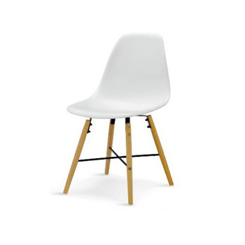 New Italian Design White Plastic Chair Price With Solid Beech Wood Leg