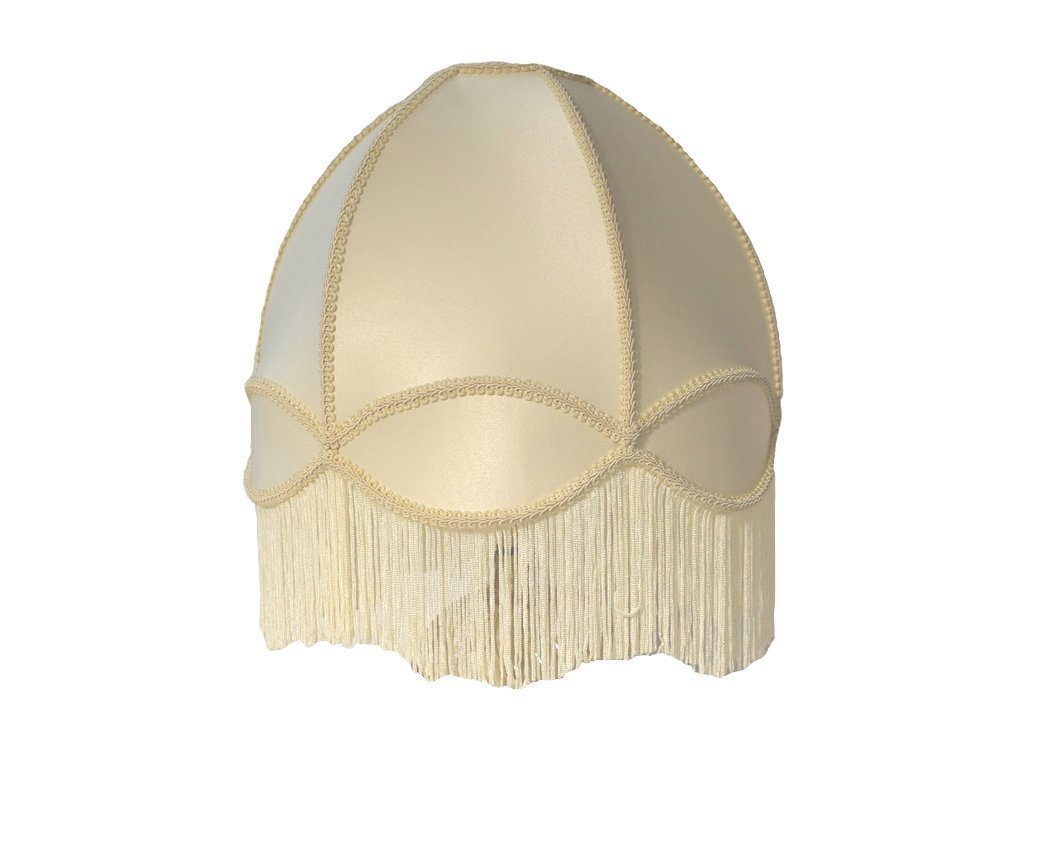"""18"""" Anna cream dome fringe silk lamp shade"""