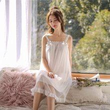 Женская ночная рубашка без рукавов из модала, белое кружевное винтажное платье принцессы в стиле ретро, сексуальное ночное платье(Китай)