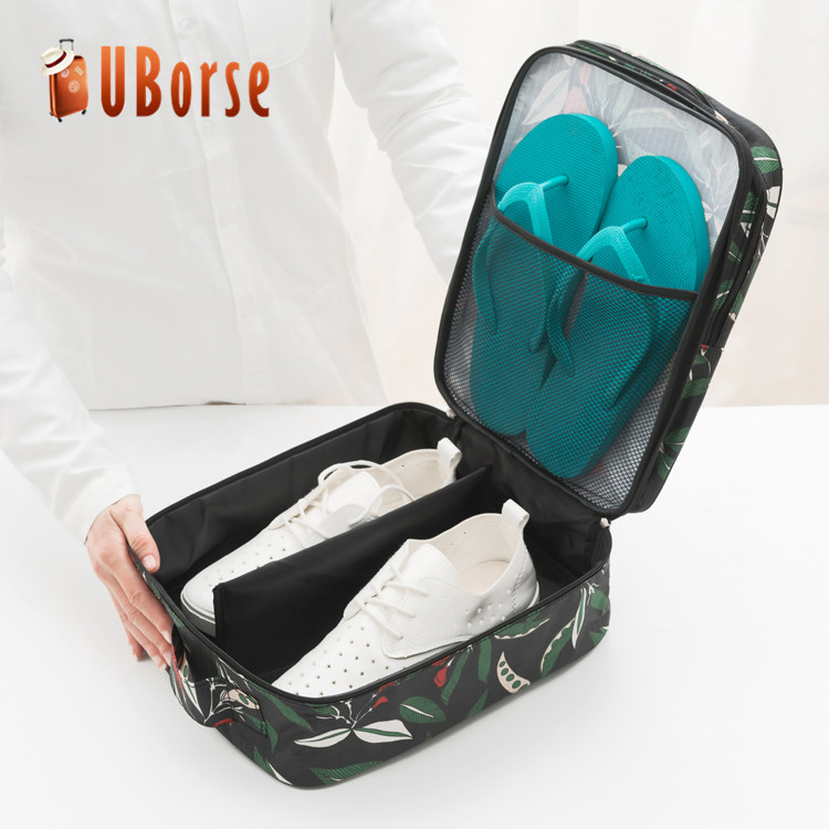 Beautiful flower pattern zipper shoe storage organizer waterproof shoe bag for travel