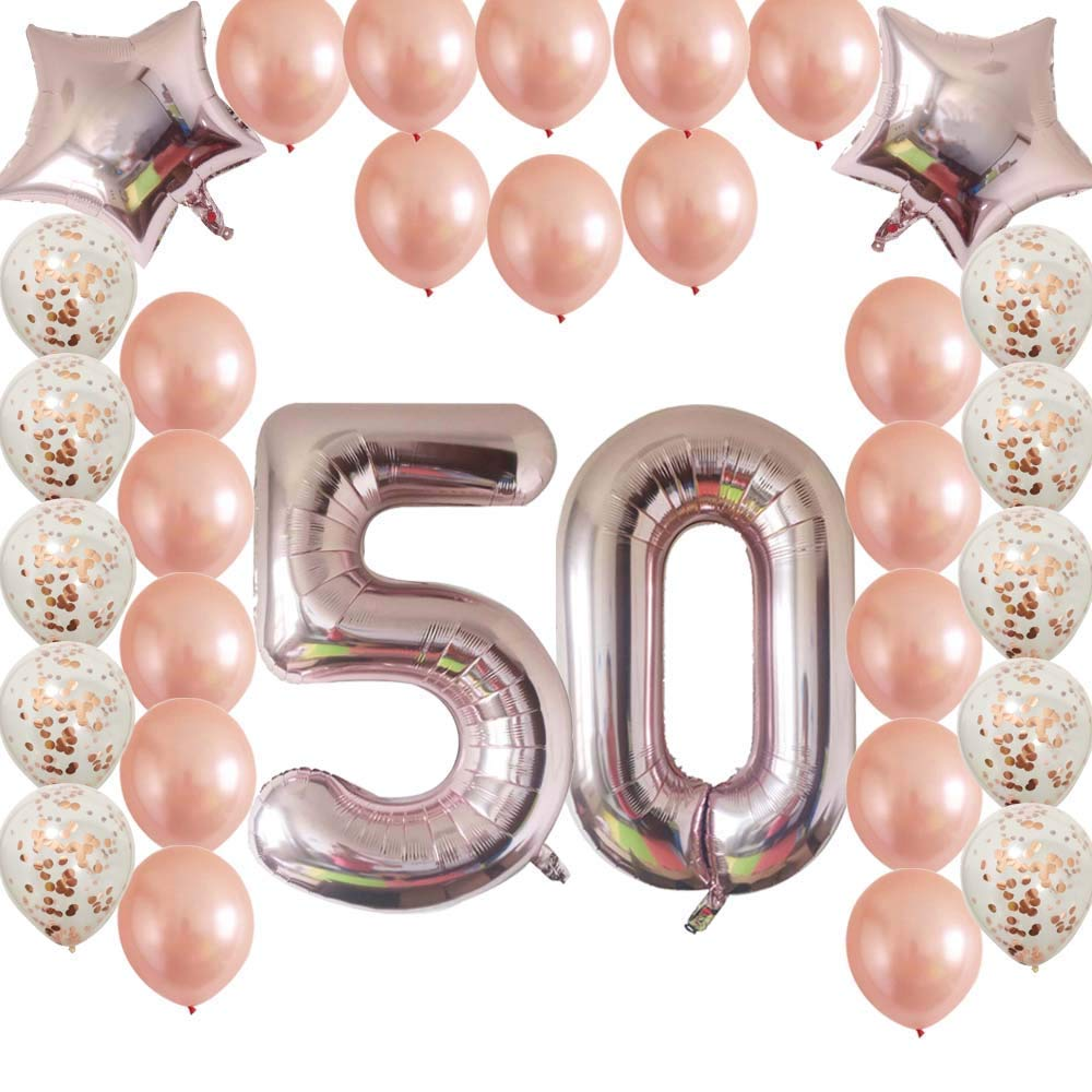 Get Quotations Rose Gold 50th Birthday Decorations Kit Confetti Latex Balloon