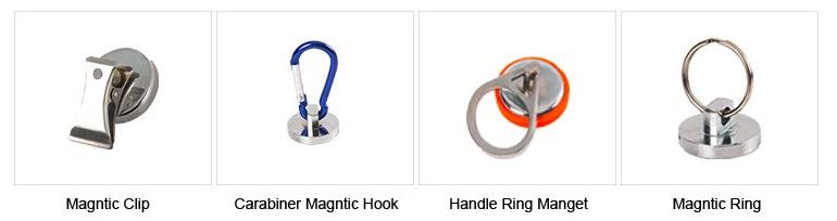 Ímã redondo do neodímio do ímã do Carabiner, gancho D27 * 5 / D30 * 5mm da pressão magnética de Carabiner
