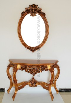 French Style Gold Ornate Wall Table Console Foyer Antique Console Table