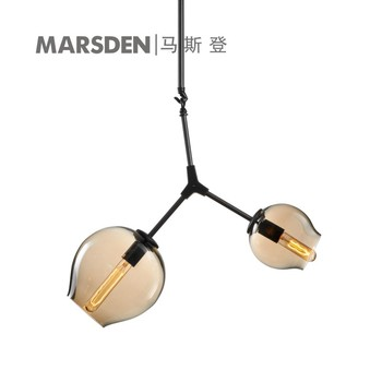 Marsden Amber Bubble Glass Shade Brass Color Pendant Lamp For ...