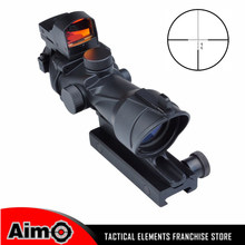 ACOG Style 4x32 Cross Rifle Scope Optical Sight Scope with Mini Red Dot Light Sensor Hunting Shooting