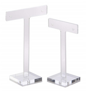 Custom t-bar shaped clear acrylic earrings holder stand