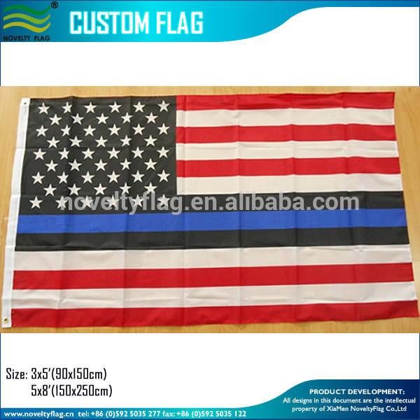 Red White Black and Blue color Thin Blue Line USA American Flag