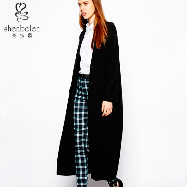 Korean coat black deep V neckline oversized style notched lapels with longline hem and flap front pockets can be duster coat