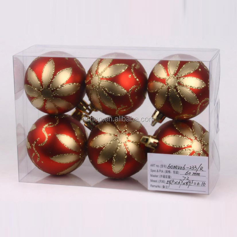 2015 futian yiwu market cheap red plastic christmas ornaments balls with printing logo