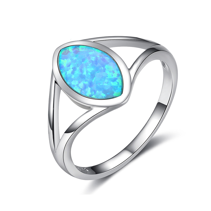 OPR018 Fukarni Evil eye shape ring The Eye of Sauron style 925 sterling silver opal ring jewelry wholesale custom cheap ring
