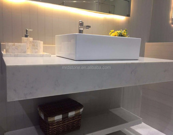 Good price custom design carrara white marble quartz vanity top stone slab