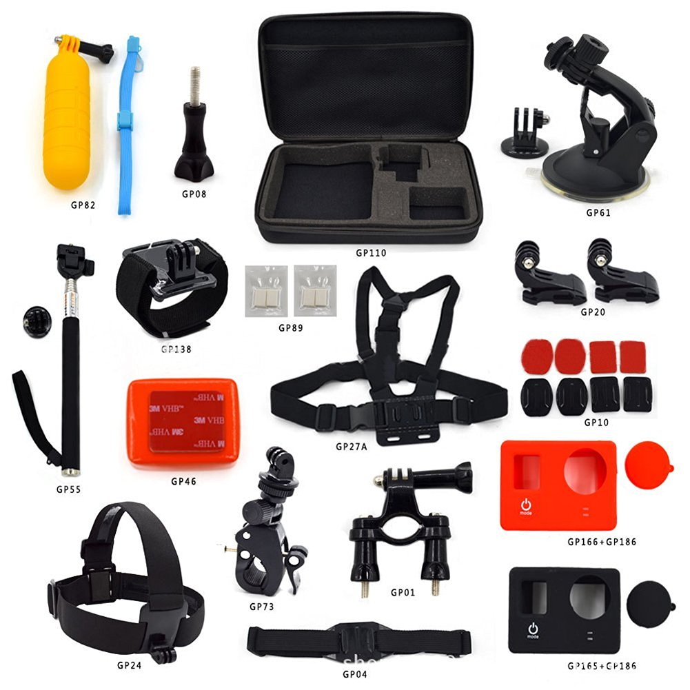 Gouptec New GOPRO Accessories Sports Outdoor Bundle Kits Set for GoPro Hero 1/2/3/3+/4 xiaomi Ant Etc Sports Camera combination