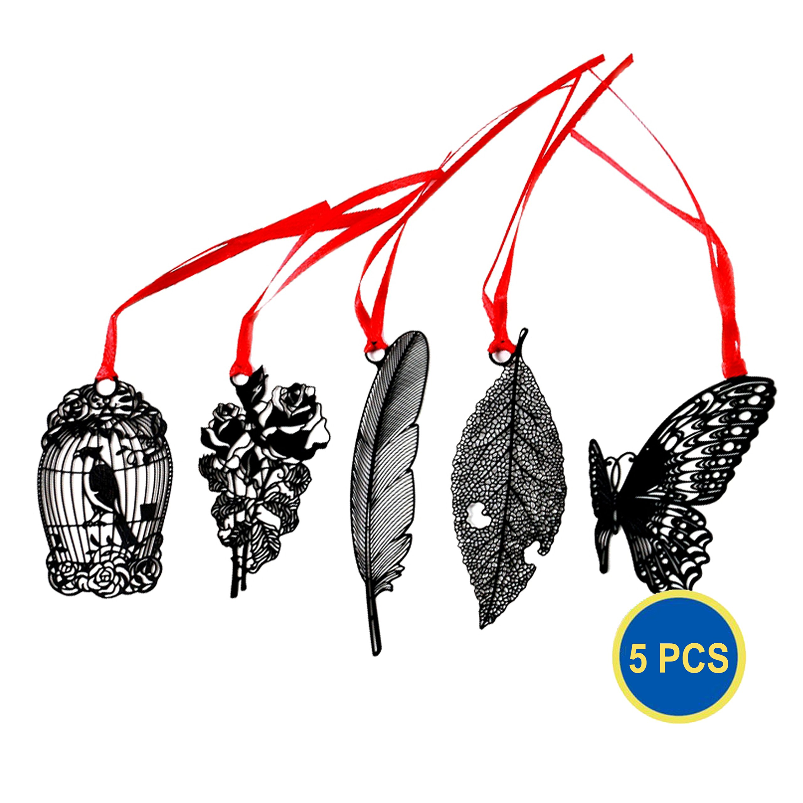 Gadget.Cool Creative Metal Bookmarks - Wholesale Pack of 5, Bundle Value Set, Stainless Steel Material, Stylish and Unique, Ribbon Red Tassel, Awesome Gift(Stainless Steel)