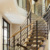 Indoor straight staircase floating wood treads
