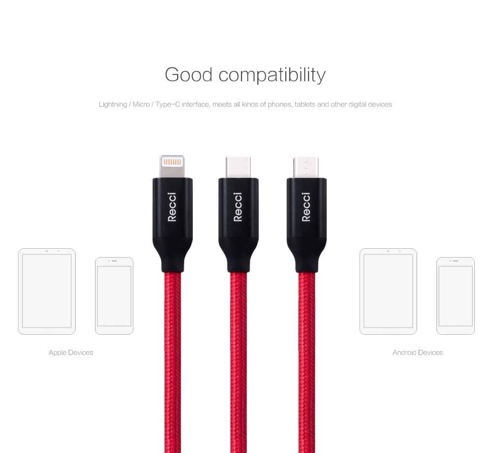 RECCI Brand Velocity Series 1.2m Mobile Phone USB Cable with Charge & Sync for Micro / Type-C / 8pin Interface Data Cables