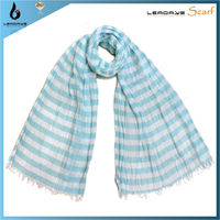 lady cotton wholesale fashion tassel blue and white stripe pattern scarf