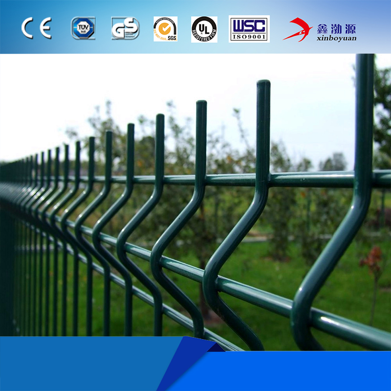 Triangle Bending 3D Curved Welded Wire Fence Panel With Peach Post