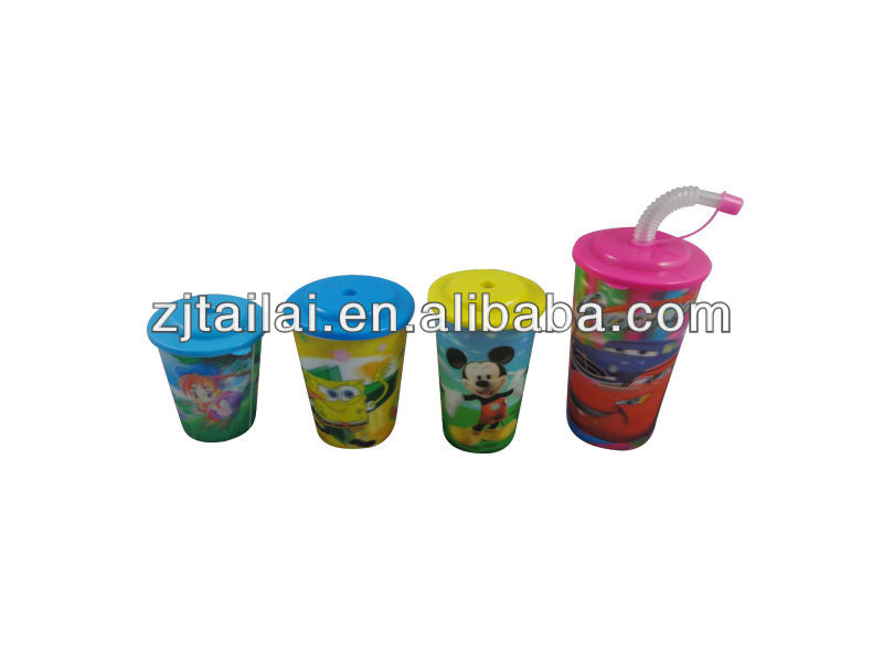 3d Lenticular Cup with lid and straw