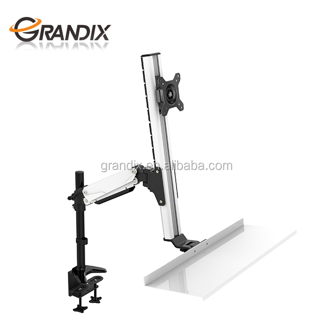 Gas spring height adjustable ergonomic monitor mount with keyboard