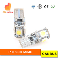 360-degree led t10 canbus, 5-SMD-5050 5050 W5W t10 led bulb canbus w/ Built-in Load Resistors For European Cars, canbus t10