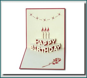 Charming Birthday Cake   In 3D Pop Up Greeting Card