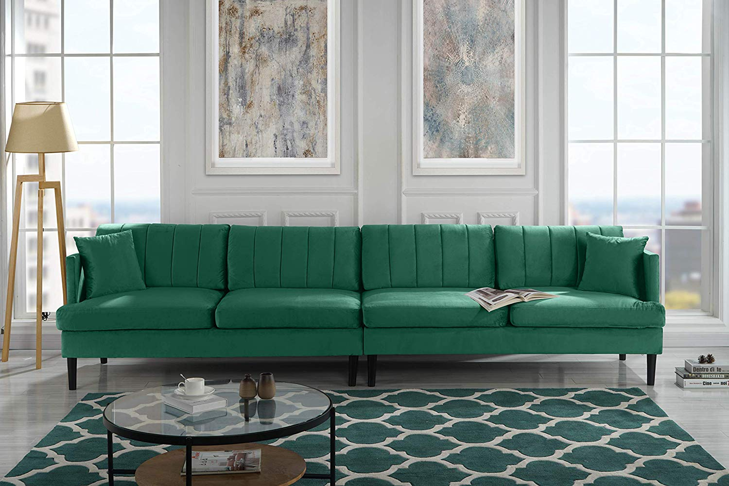 Get Quotations · Mid Century Extra Large Velvet Sofa, Living Room Couch ( Green)