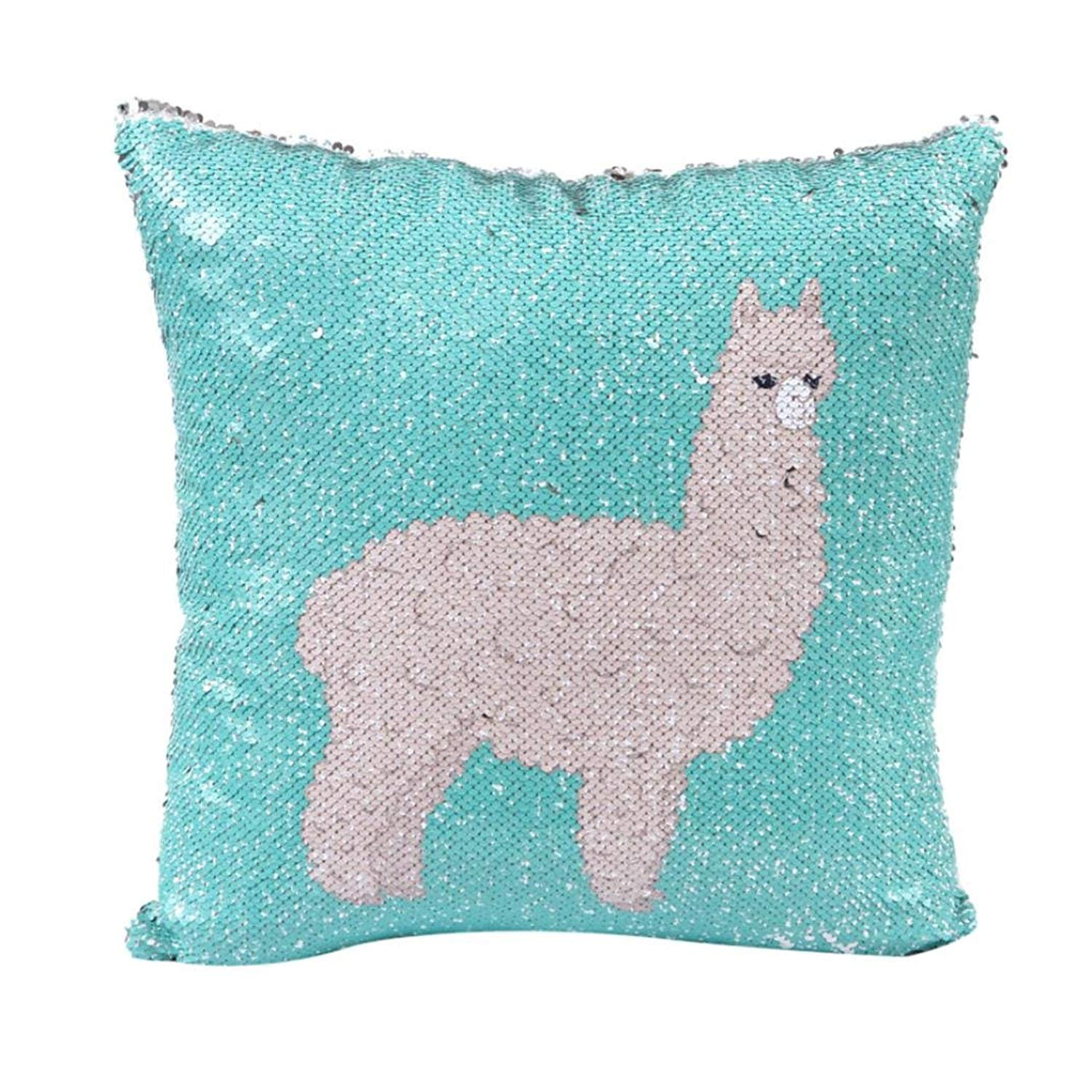 MaxFox Sequins Throw Pillow Cover 18 x 18 Inch 45 x 45 Cm DIY Two Tone Alpaca Glitter Pillow Cover